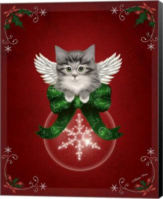 Metaverse Art Happy Holidays Cat Canvas Wall Art