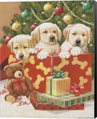 Metaverse Art Holiday Puppies Canvas Wall Art