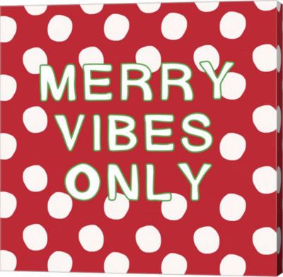 Metaverse Art Merry Vibes Only with Snowballs Canvas Wall Art