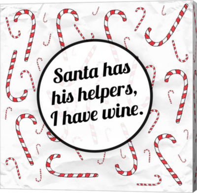 Metaverse Art Santa's Helpers - Wine Canvas Wall Art