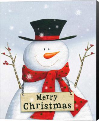 Metaverse Art Merry Christmas Snowman Canvas WallArt