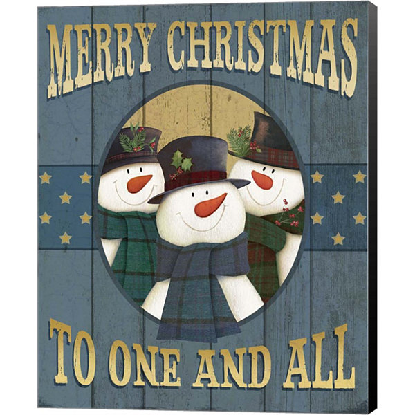Metaverse Art Merry Christmas Snowmen Canvas WallArt