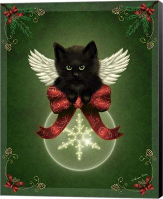 Metaverse Art Merry Little Christmas Cat Canvas Wall Art