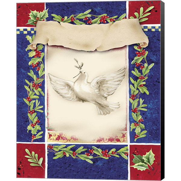 Metaverse Art Mistletoe Holiday Dove Canvas Wall Art