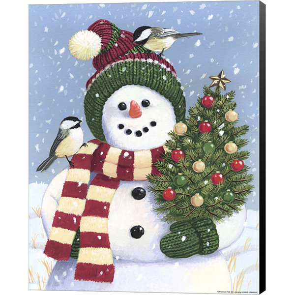 Metaverse Art Snowman Holding A Christmas Tree Canvas Wall Art