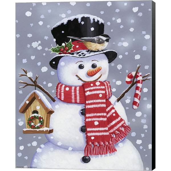 Metaverse Art Snowman With Tophat Canvas Wall Art
