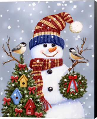 Metaverse Art Snowman With Wreath Canvas Wall Art