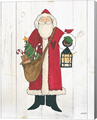 Metaverse Art Vintage St Nick I no Words on WhiteWood Canvas Wall Art