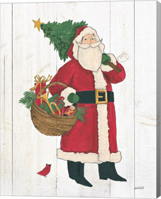 Metaverse Art Vintage St Nick III no Words on White Wood Canvas Wall Art