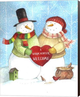 Metaverse Art Warm Welcome Snowman Canvas Wall Art