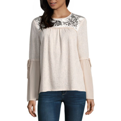 Rewind Long Sleeve Scoop Neck Knit Blouse-Juniors