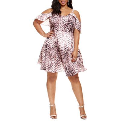 Fashion To Figure Andie Leopard Print Cold Shoulder Dress - Plus