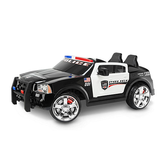 KidTrax Dodge Charger Pursuit Police Car 12Volt Electric Ride-on in Black & White