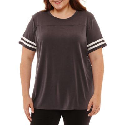 Flirtitude Short Sleeve Scoop Neck T-Shirt-Womens Juniors Plus