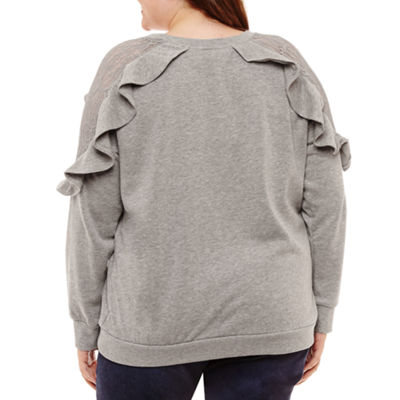 Arizona Ruffle Sweatshirt-Juniors Plus