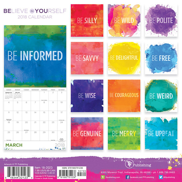 2018 Believe in Yourself Mini Calendar