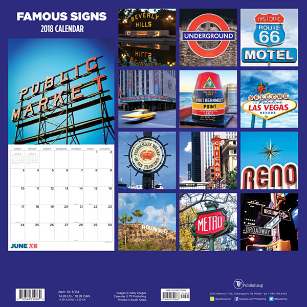 2018 Famous Signs Wall Calendar