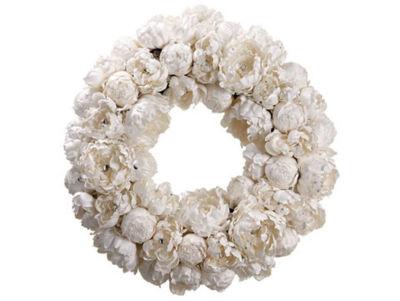 "22"" Diamond Peony Artificial Floral Christmas Wreath - Unlit"""