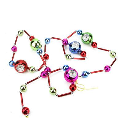 "81"" Decorative Multi-Color Glass Bead and Retro Reflector Ornament Christmas Garland"""