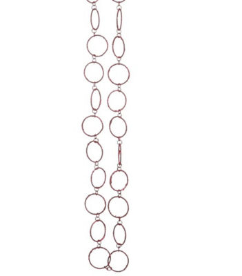 5' Pretty in Pink Sparkling Fuschia Glitter Round Circle Chain Christmas Garland