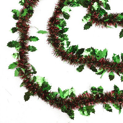 50' Shiny Red and Green 8 Ply Christmas Tinsel Garland with Green Holly - Unlit