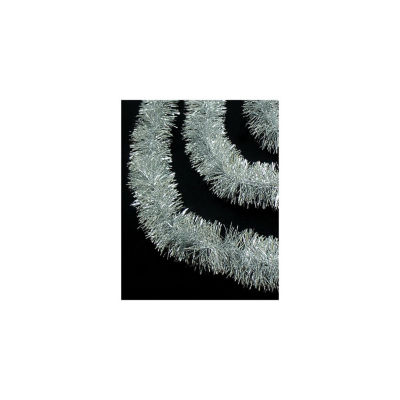 50' Traditional Shiny Silver Christmas Tinsel Garland - Unlit - 3 Ply