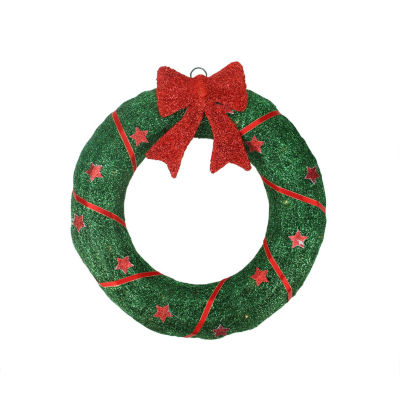 "18"" Lighted Sparkling Green Sisal Christmas WreathYard Art Decoration"