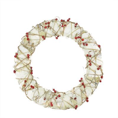 "18"" Pre-Lit Burlap and Berry Rattan Artificial Christmas Wreath - Clear Lights"