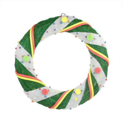 """18"""" Pre-Lit Green and White Candy Striped Sisal Artificial Christmas Wreath - Clear Lights"""""""