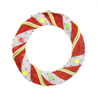 "18"" Pre-Lit Red and White Candy Cane Stripe SisalArtificial Christmas Wreath - Clear Lights"""