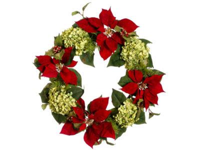 "24"" Glittered Poinsettia  Hydrangea & Holly Artificial Christmas Wreath - Unlit"