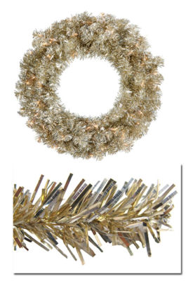 "24"" Pre-Lit Champagne Sparkling Tinsel ArtificialChristmas Wreath -Clear Lights"""