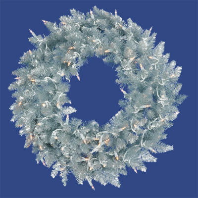 """24"""" Pre-Lit Silver Ashley Spruce Tinsel ChristmasWreath - Clear Lights"""""""