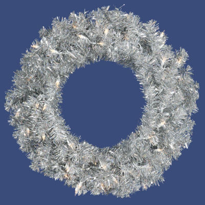 """24"""" Pre-Lit Sparkling Silver Tinsel Artificial Christmas Wreath - Clear Lights"""""""