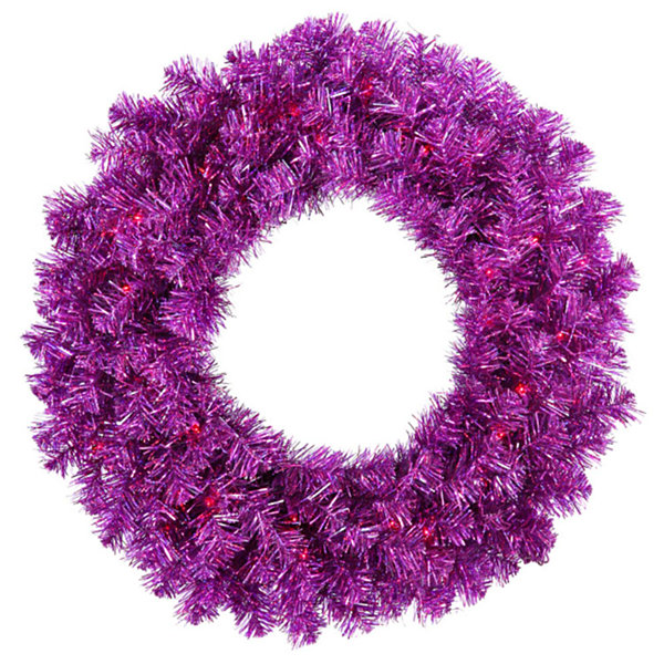 "24"" Pre-Lit Sparkling Wild Purple Artificial Christmas Wreath - Purple Lights"""