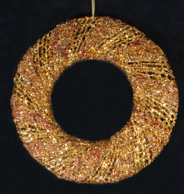 "24"" Sparkling Gold Glitter & Burgundy Beaded Decorative Christmas Wreath - Unlit"