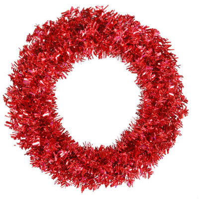 "36"" Pre-Lit Red Hot Wide Cut Tinsel Artificial Christmas Wreath - Red Lights"""