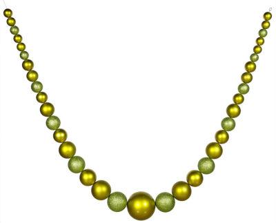 11' Commercial Size Matte & Glitter Green Shatterproof Christmas Ball Garland