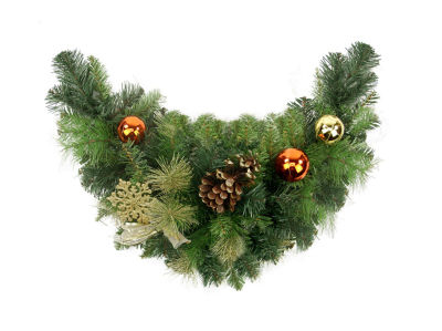 "24"" Pre-Decorated Copper and Gold Ball Ornaments and Bows Artificial Christmas Swag - Unlit"""