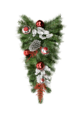 """24"""" Pre-Decorated Red and Silver Holly  Ball and Pine Cone Artificial Christmas Teardrop Swag - Unlit"""""""