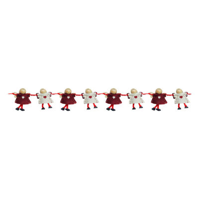 "26"" Decorative Plush Red and Beige Joined Hands Angel Dolls Christmas Garland - Unlit"""