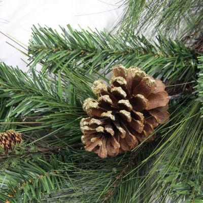 "28"" Artificial Mixed Pine with Pine Cones and GoldGlitter Christmas Teardrop Swag - Unlit"""