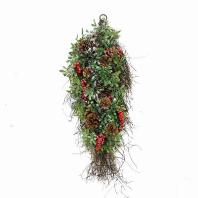 "28"" Glittered Artificial Boxwood  Pine Cone and Red Berry Christmas Teardrop Swag- Unlit"""