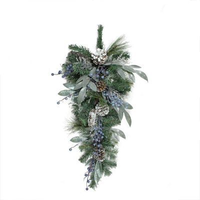 "28"" Mixed Pine  Blueberries and Snowy Pine Cones Artificial Christmas Teardrop Swag - Unlit"""