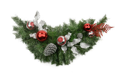 """29"""" Pre-Decorated Red and Silver Holly  Ball  Cedar and Pine Cone Artificial Christmas Swag - Unlit"""""""