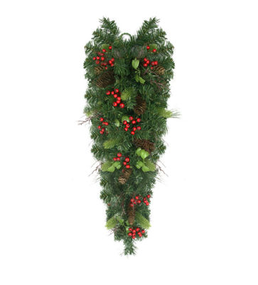 "30"" Mixed Pine with Red Berries and Pine Cones Artificial Christmas Teardrop Swag - Unlit"