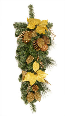 """30"""" Pre-Decorated Gold Poinsettia  Apple and BerryArtificial Christmas Teardrop Swag - Unlit"""""""