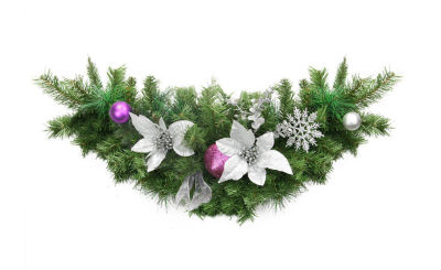 """30"""" Pre-Decorated Silver Poinsettia  Eucalyptus and Purple Ornament Artificial Christmas Swag - Unlit"""""""