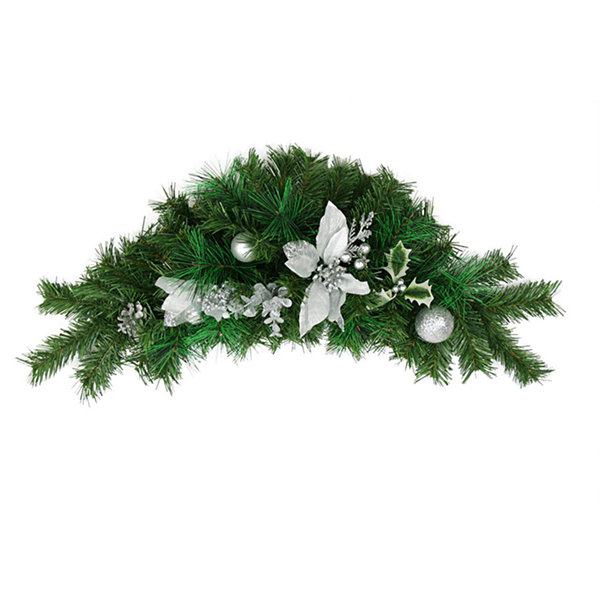 "30"" Pre-Decorated Silver Poinsettia  Pine Cone andBall Artificial Christmas Swag - Unlit"""