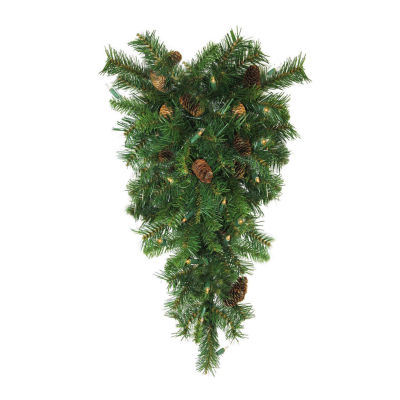 "30"" Pre-Lit Dakota Red Pine Artificial Christmas Teardrop Swag - Clear Dura Lights"""
